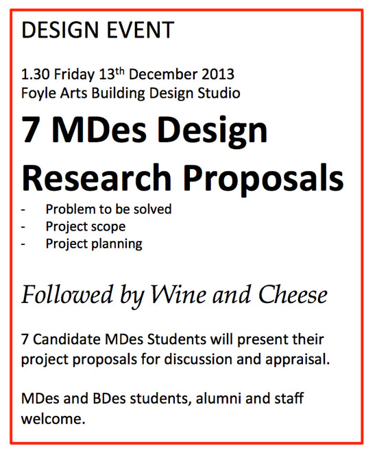 Design research proposals